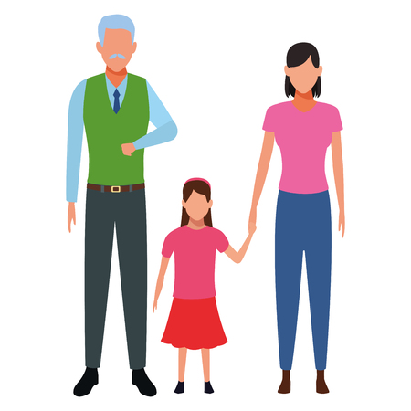 old man with woman and child holding hand avatar cartoon character vector illustration graphic design vector illustration graphic design