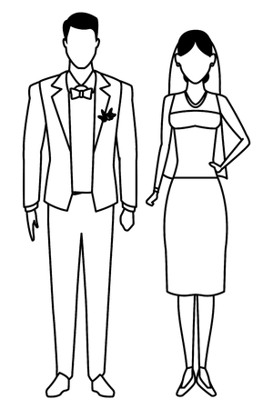 groom and bride avatar cartoon character black and white vector illustration graphic design