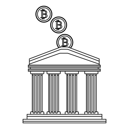 bank buiding with cryptocurrency icon cartoon bitcoin black and white vector illustration graphic design