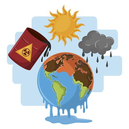 globe melting half desert with hazardous waste and dark clouds icon cartoon vector illustration graphic design