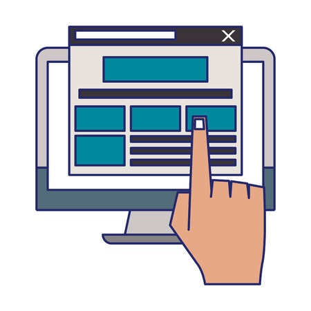 Computer screen internet browsing with hand clicking and hovering tab vector illustration graphic design