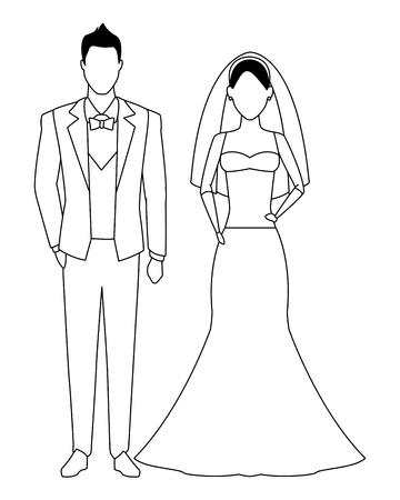 Le marié et la mariée avatar personnage de dessin animé noir et blanc vector illustration graphic design
