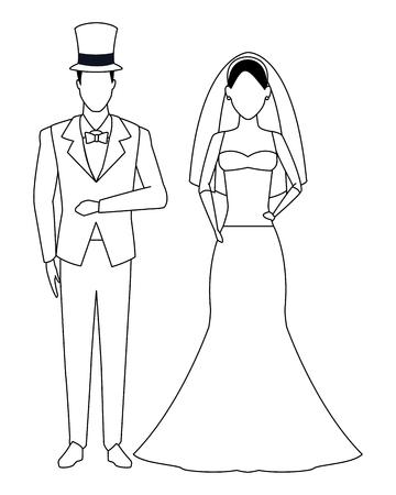 El novio y la novia avatar personaje de dibujos animados ilustración vectorial en blanco y negro diseño gráfico Ilustración de vector