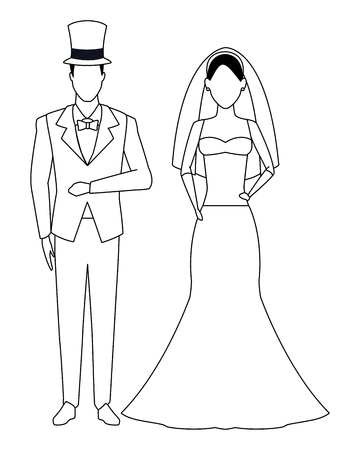 groom and bride avatar cartoon character black and white vector illustration graphic design Vector Illustratie