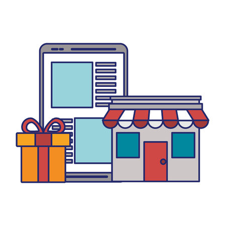 Storefront with gift and tablet ecommerce vector illustration graphic design Stock Illustratie