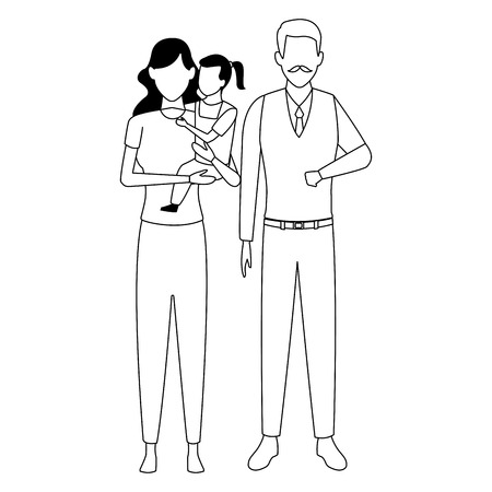family avatar cartoon character grandparent mother and child black and white vector illustration graphic design