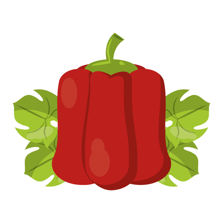 Pepper on leaves fresh vegetable healthy food vector illustration graphic design Vectores