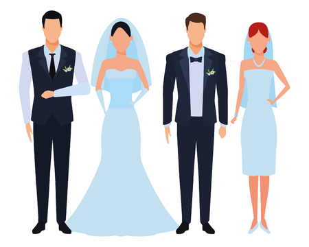 people dressed for wedding avatar cartoon character vector illustration graphic design Çizim