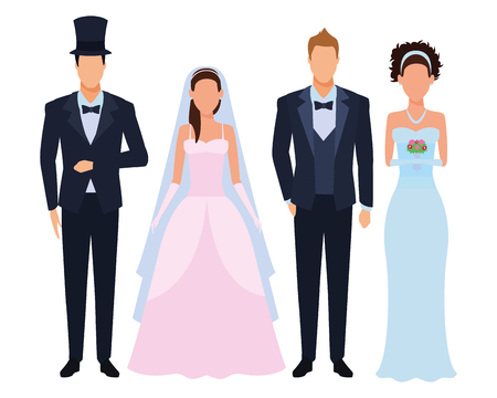 people dressed for wedding avatar cartoon character vector illustration graphic design
