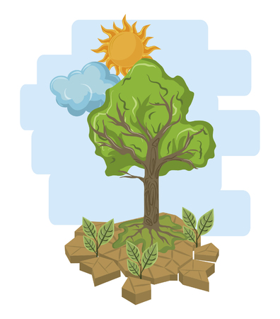 tree and sun with cloud icon cartoon vector illustration graphic design