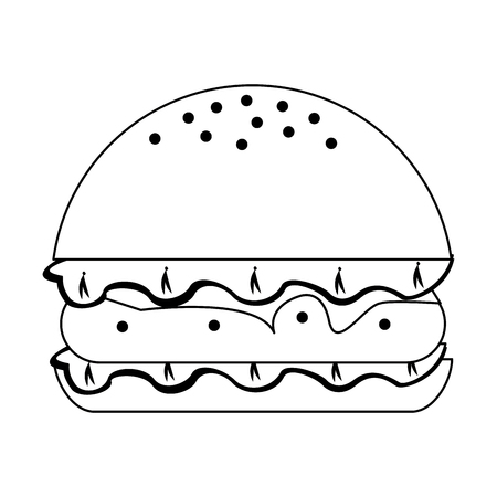 Hamburger fast food isolated vector illustration graphic design