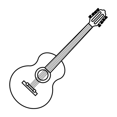 guitar icon cartoon isolated black and white vector illustration graphic design