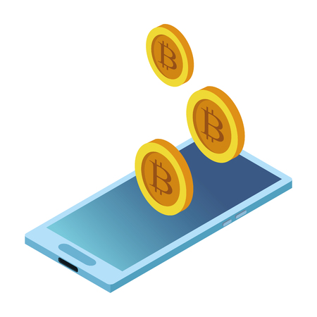 cellphone and cryptocurrency bitcoin icon cartoon vector illustration graphic design Illustration