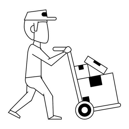 Courier pushing handtruck with boxes vector illustration graphic design