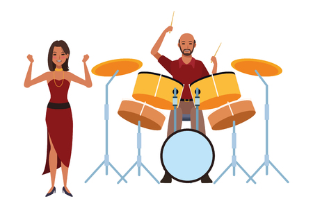 musician playing drums and dancing avatar cartoon character vector illustration graphic design