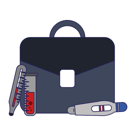 business briefcase and medical supplies vector illustration graphic design