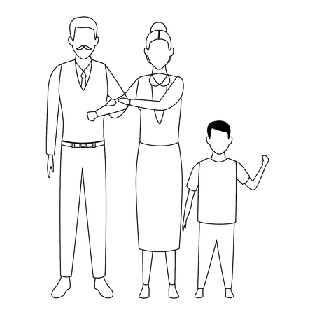 elderly couple with child avatar cartoon character black and white vector illustration graphic design
