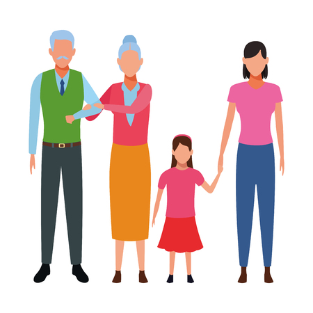 family avatar cartoon character grandparents mother and daughter vector illustration graphic design 矢量图像