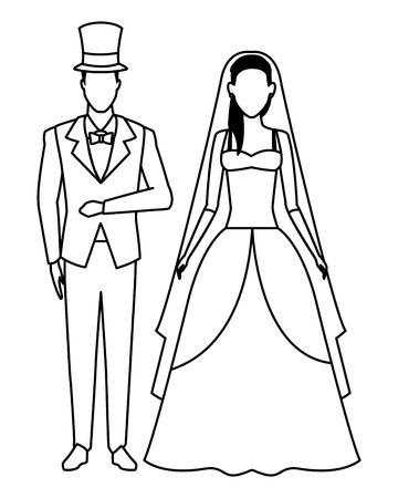 Le marié et la mariée avatar personnage de dessin animé noir et blanc vector illustration graphic design Vecteurs