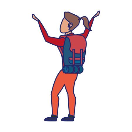 Backpacker hiking tourist adventure greeting isolated isolated vector illustration graphic design Ilustração