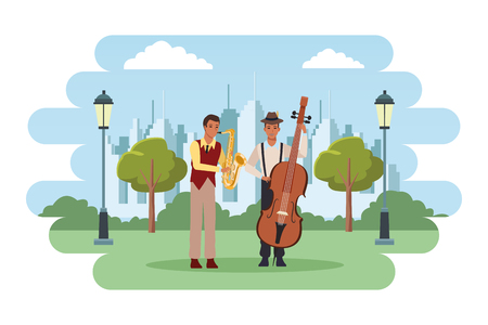 musician playing saxophone and bass avatar cartoon character in the park cityscape skyscraper vector illustration graphic design