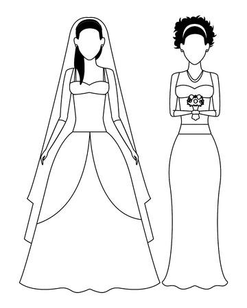 women wearing wedding dress avatars cartoon characters black and white vector illustration graphic design