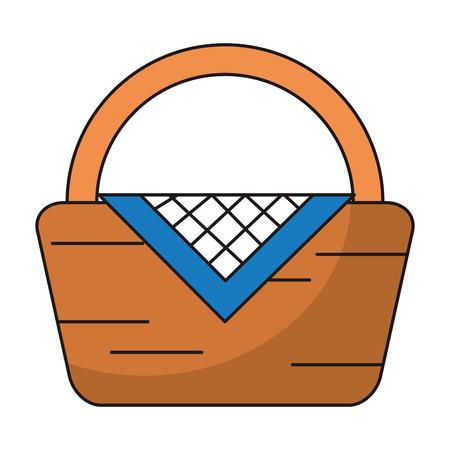 Picnic basket symbol cartoon vector illustration graphic design
