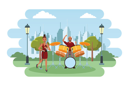 musician playing drums and singing avatar cartoon character in the park cityscape skyscraper vector illustration graphic design Illusztráció