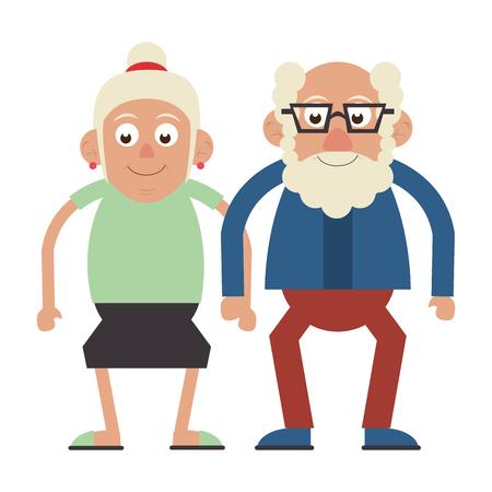 Elderly couple grandparents senior citizen with glasses vector illustration graphic design Illustration