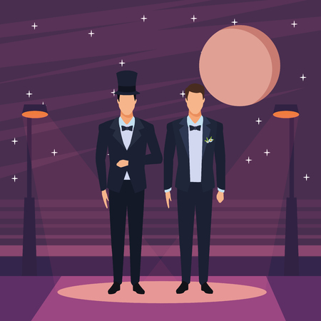 men wearing tuxedo avatar cartoon characters with bow tie and top hat in the city street at night vector illustration graphic design