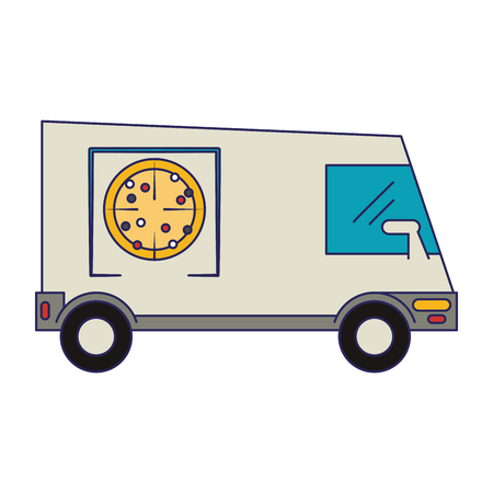 Pizza delivery truck vehicle vector illustration graphic design