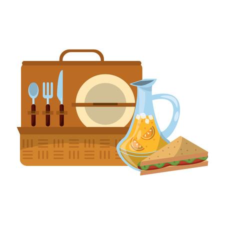 Picnic basket with sandwich orange juice and utensils vector illustration graphic design