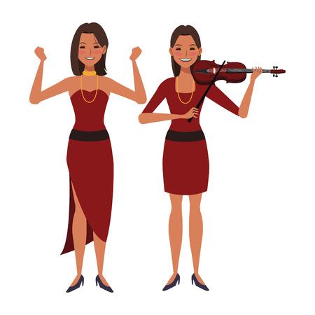 Músico tocando el violín y bailando avatar personaje de dibujos animados ilustración vectorial diseño gráfico