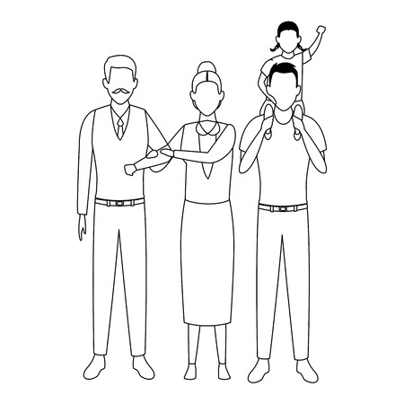 family avatar cartoon character elderly couple and man carrying a child black and white vector illustration graphic design 向量圖像