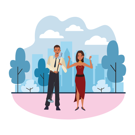 singer and dancer avatar cartoon character in the park cityscape skyscraper vector illustration graphic design