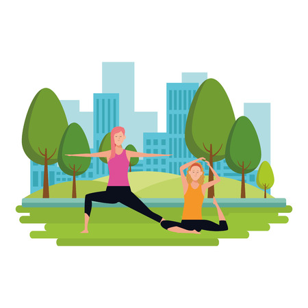 women yoga poses avatar cartoon character vector in the park with cityscape illustration graphic design Vettoriali