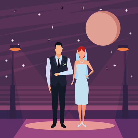 groom and bride avatar cartoon character in the city street at night vector illustration graphic design