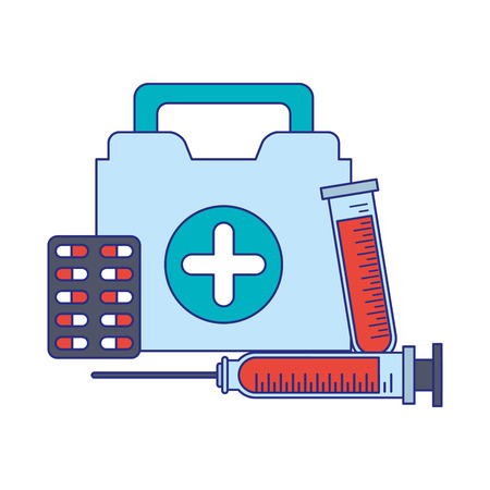 Medical healthcare equipment first aids suitcase with pills tablet and syringe vector illustration graphic design