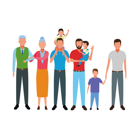 family avatar cartoon character grandparent children vector illustration graphic design