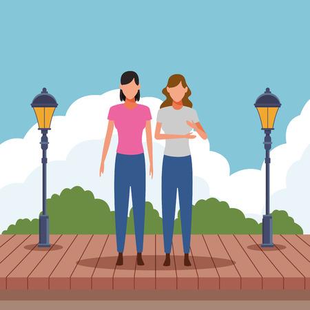 women avatar cartoon character   at park wooden floor vector illustration graphic design Foto de archivo - 121972750