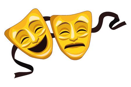 Diseño gráfico del ejemplo del vector de la historieta del icono de la máscara del teatro