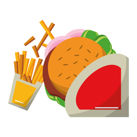 Fast food hamburger and french fries vector illustration graphic design