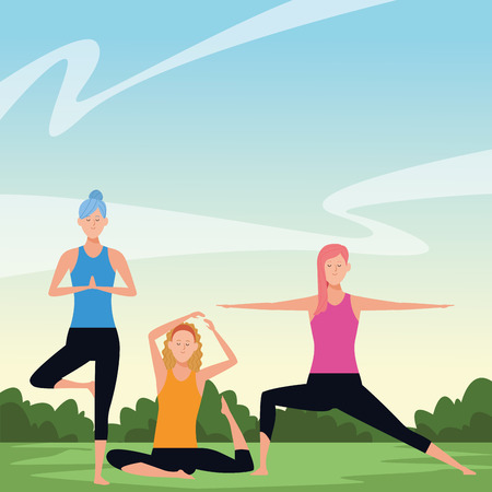women yoga poses avatar cartoon character in the park vector illustration graphic design Иллюстрация