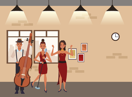 musician playing bass singing and dancing avatar cartoon character indoor rehearsal room vector illustration graphic design