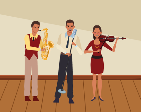 musician playing saxophone violin and singing avatar cartoon character indoor rehearsal room vector illustration graphic design