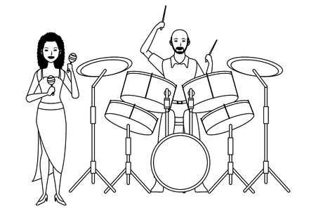 musician playing maracas and drums avatar cartoon character black and white vector illustration graphic design