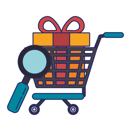 Online shopping cart with gift and magnifying glass vector illustration graphic design Ilustração