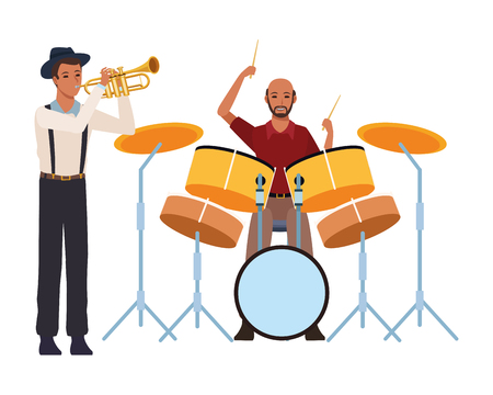 musician playing trumpet and drums avatar cartoon character vector illustration graphic design