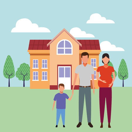 family avatar cartoon character couple pregnant with child   ourdoors school building vector illustration graphic design Stock Illustratie