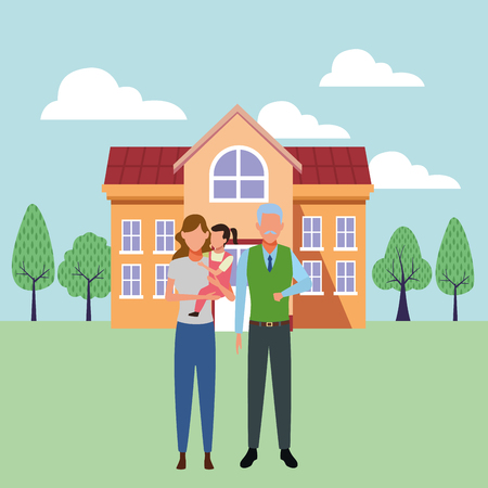 family avatar cartoon character grandparent mother and child   ourdoors school building vector illustration graphic design
